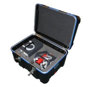 Transport case for FID model 3006 with cylinder rack and gas cylinders